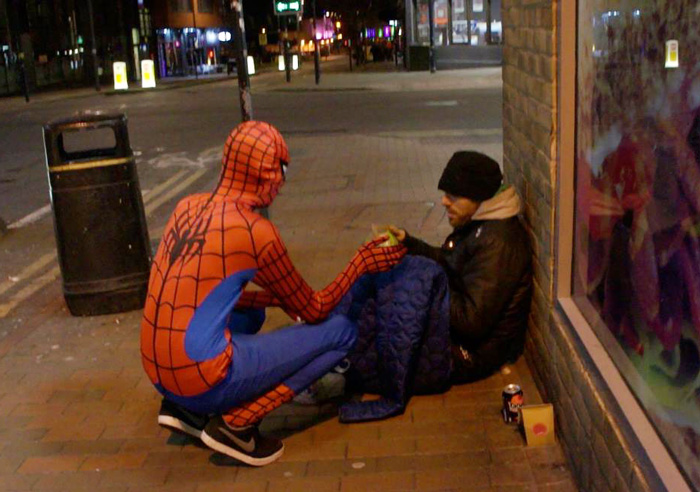 Anonymous 'Spider-Man' Feeds Homeless At Night Spider-man-helps-feeds-homeless-birmingham-uk-5