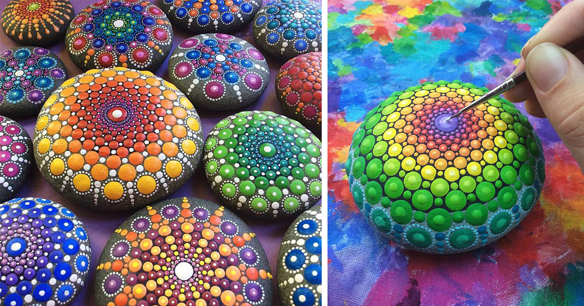 Artist Paints Ocean Stones With Thousands Of Tiny Dots To Create