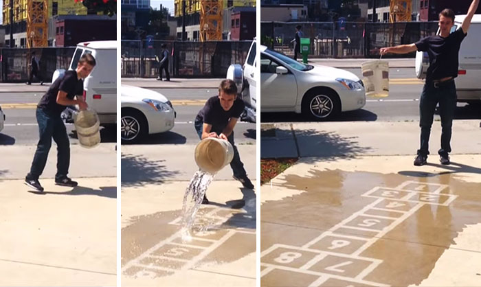 Artist Creates Water-Activated Street Art To Make People Smile On A Rainy Day