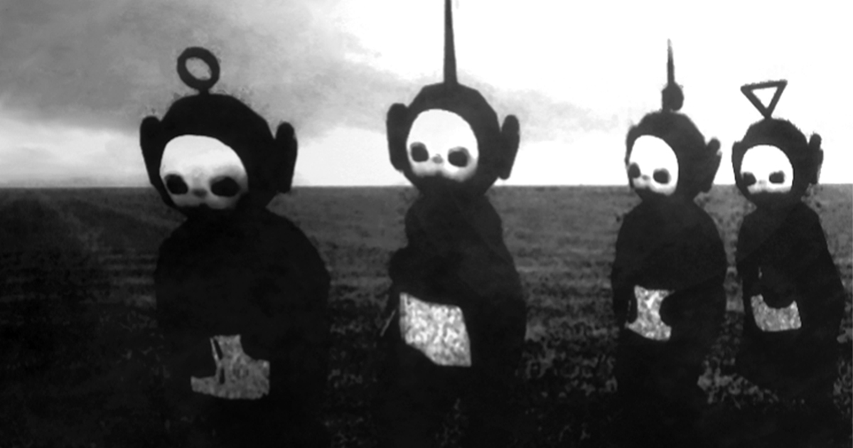 Teletubbies In Black White Look Like A Horror Show Bored Panda - Teletubbies in black and white is terrifying
