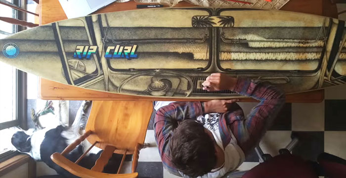A Time Lapse Video Of Me Drawing On Old Surfboard