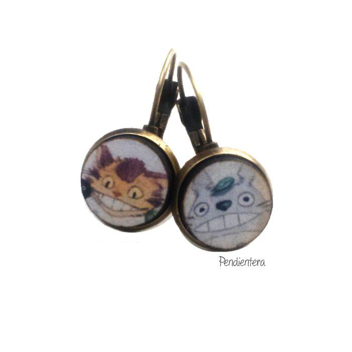Totoro And Catbus Fanart Earrings By Pendientera