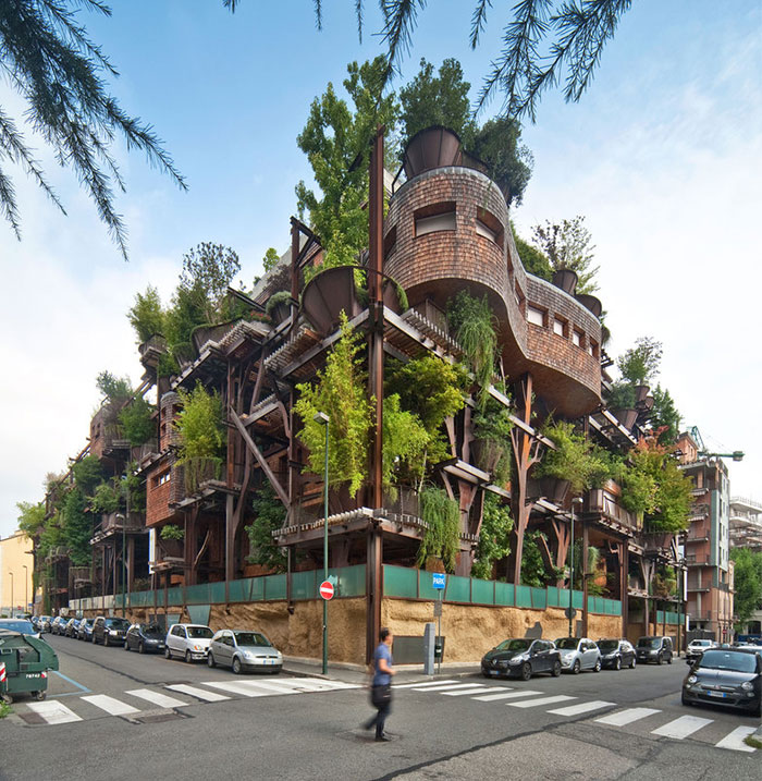 Urban Treehouse Uses 150 Trees To Protect Residents From Noise And Pollution