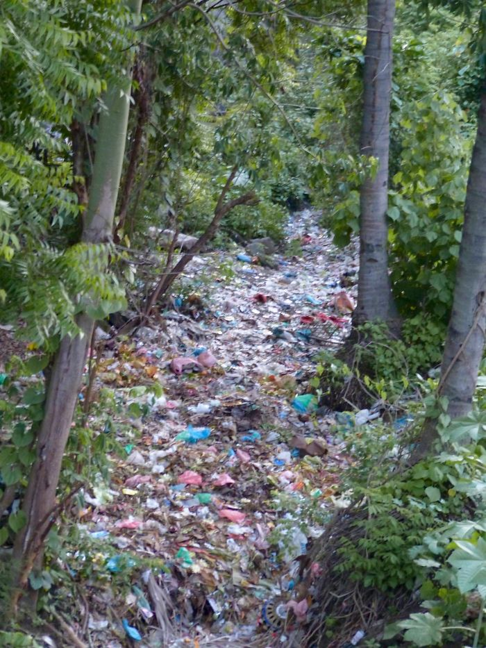 Dry 'river' In Northern Bali – When The Rains Come The Plastic Washes Out To Sea.