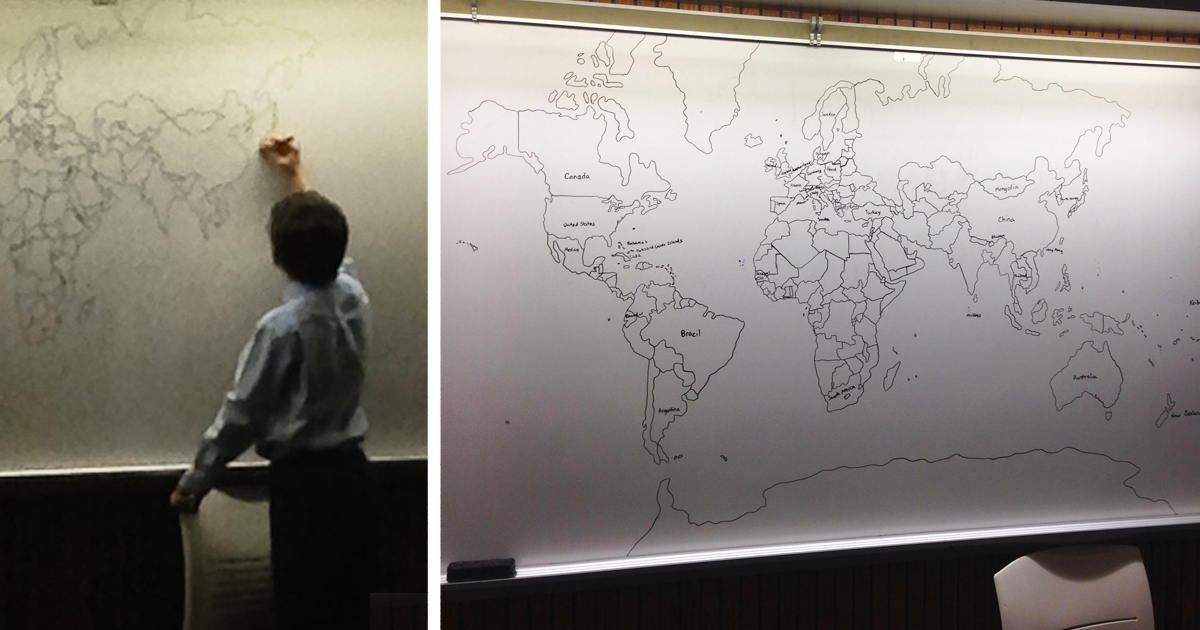 11-Year-Old Boy With Autism Draws Detailed World Map Entirely From Memory