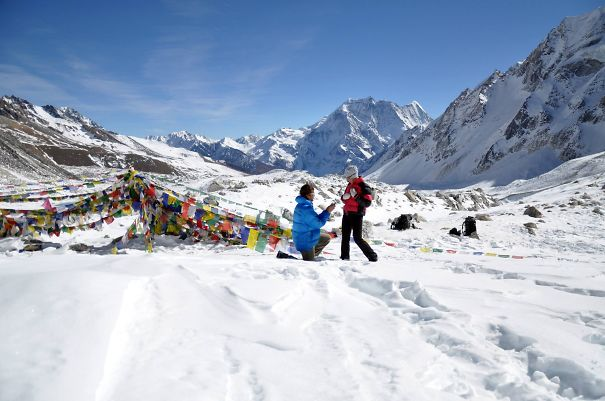 Proposing At The Top Of Larke La, 5,135 Meters, In The Manasulu Himalaya