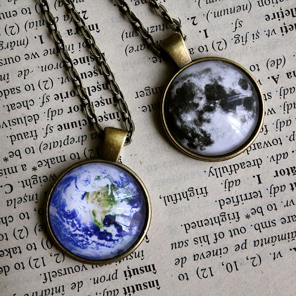 Moon And Earth Necklaces