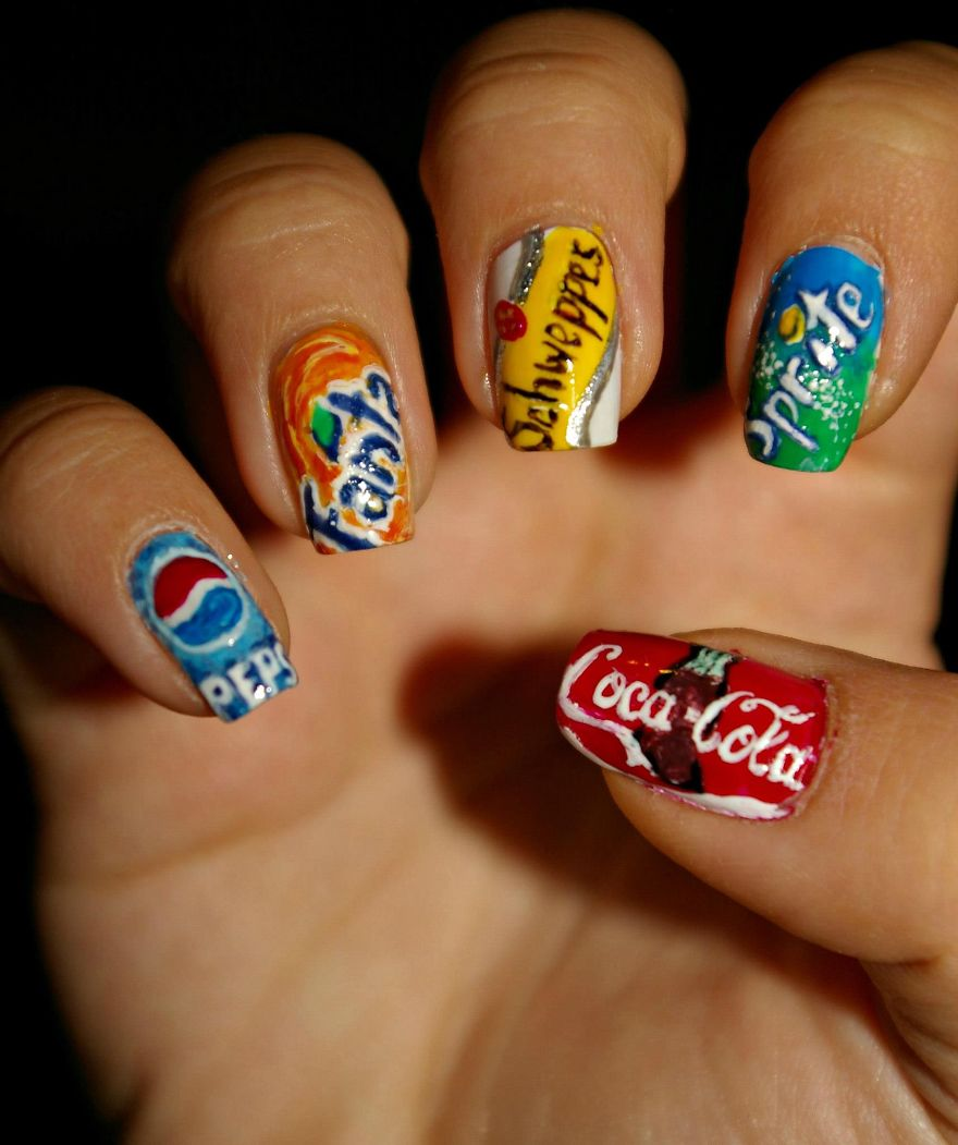 Drinks - I Paint My Nails With Favorite Cartoons, Movies And Snacks Bored Panda