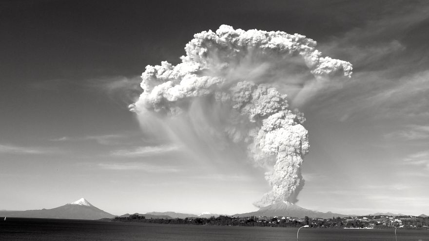 A View Of The Calbuco Eruption From Puerto Varas, Llanquihue Lake.