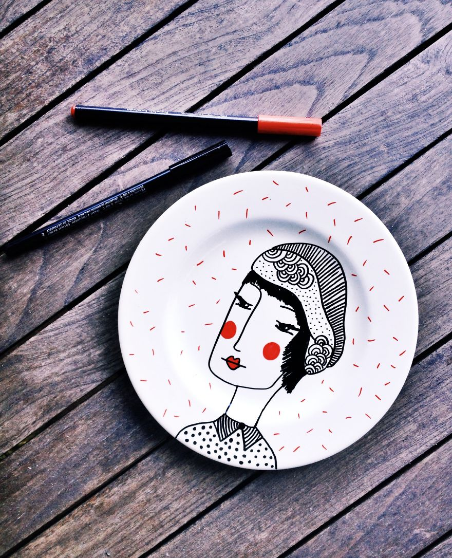 My Paintings On Porcelain Are Inspired By The People I See In French Style Cafes