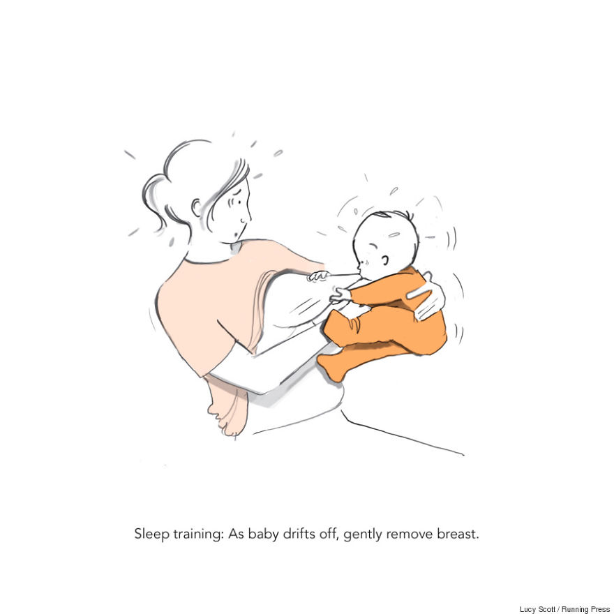 Sleep training: as baby drifts off, gently remove breast