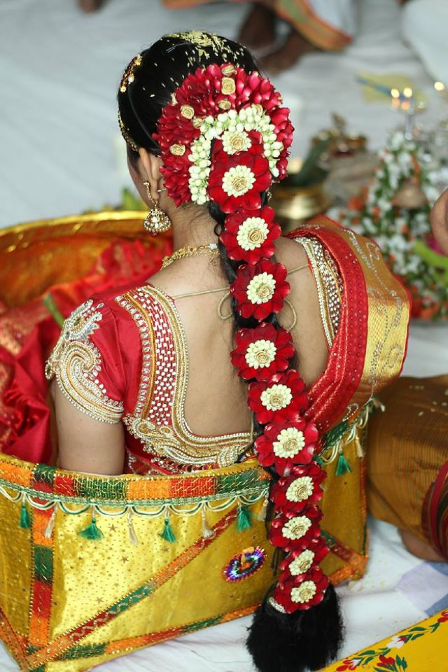 I make jewelery and hair accessories out of fresh flowers traditional indian bride wearing flowers in hair and sitting in bridal basket junglespirit Image collections