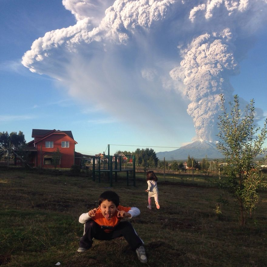 My Cousins In His Yard, 27 Kilometers Away From The Eruption.