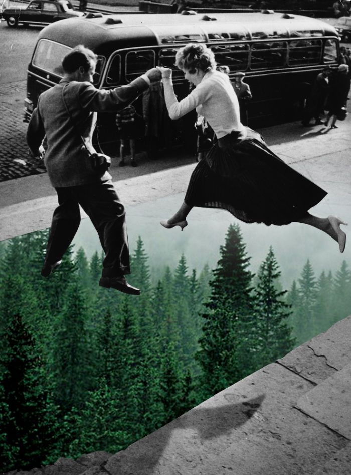 Collages Of Vintage Photos Blended With Natural Elements To Make Them More Joyful