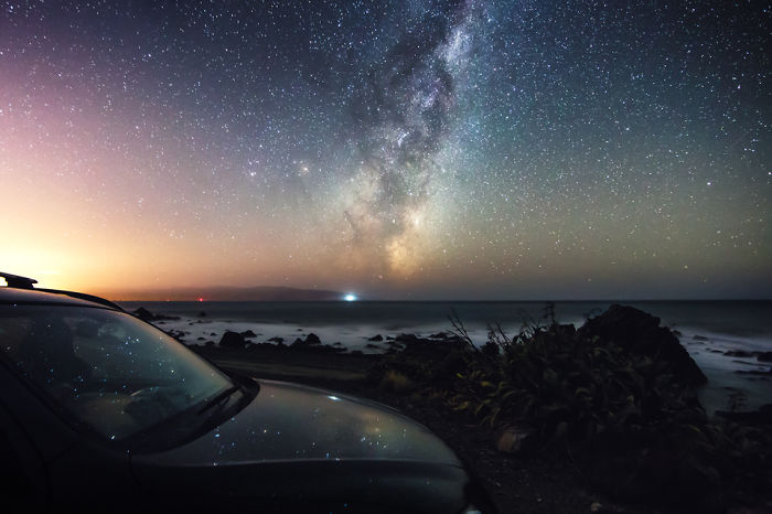 Our Milky Way Galaxy Reflecting In My Car