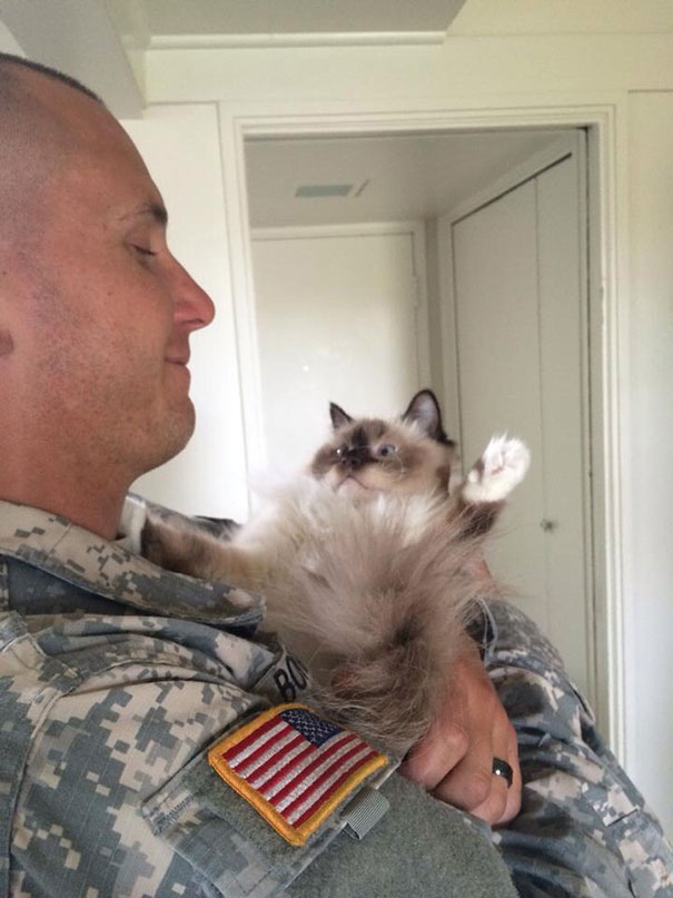 Tough Soldier With His Kitty