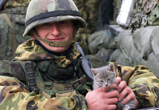 Soldier With Kitten