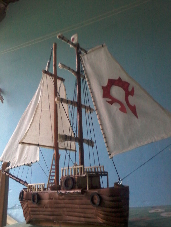My Boyfriend Makes Ship Models Using Only Wood, Cloth And String