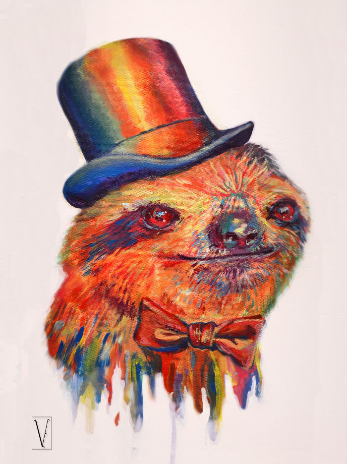 "Victoria Egan ""dapper Sloth"" Acrylic On Canvas."