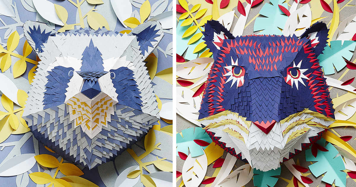 I Make Animal Masks From Hundreds Of Tiny Pieces Of Paper
