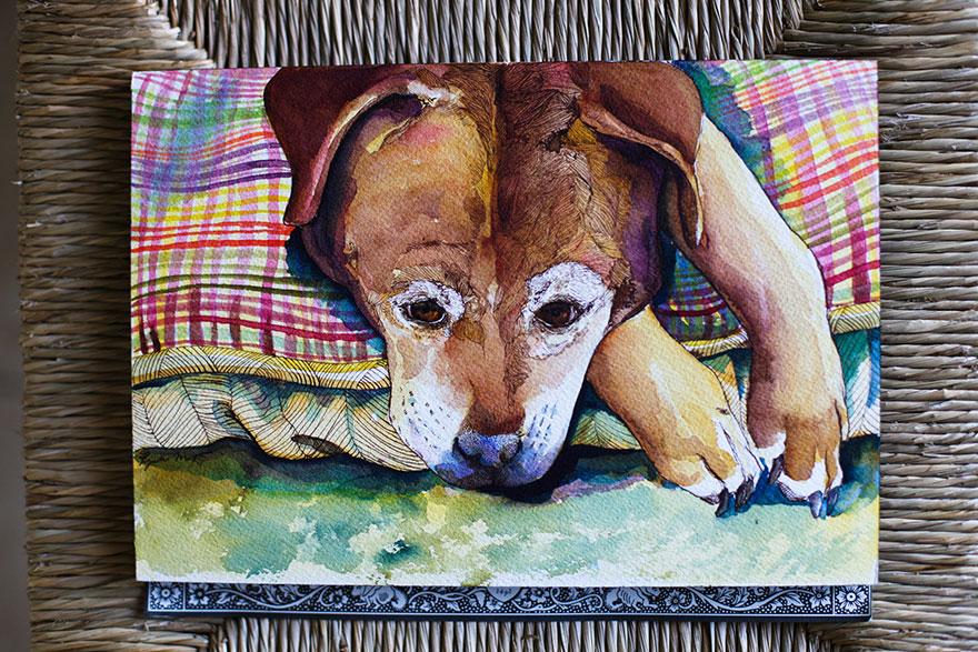 Animal-aquarela-lápis-pinturas-Janie-Stapleton-3