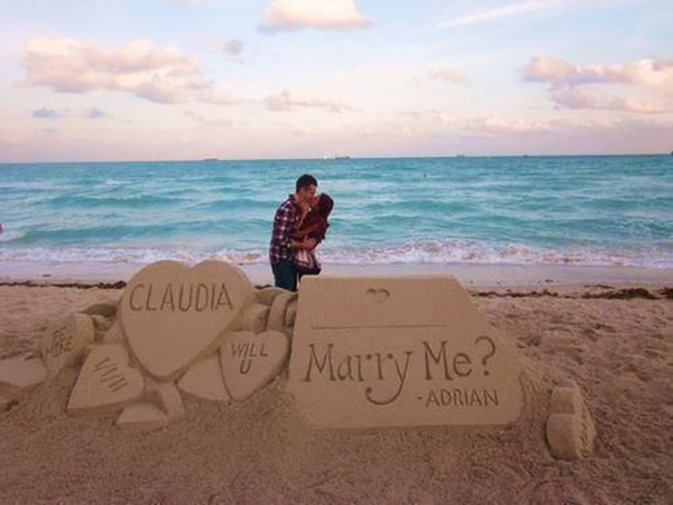 Proposing With Sand Sculptures