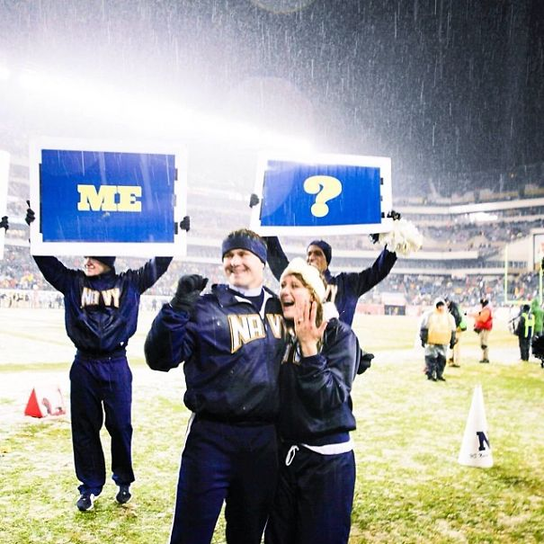 He was her stunt partner at the Academy, so it was the perfect idea to propose at the army navy game.