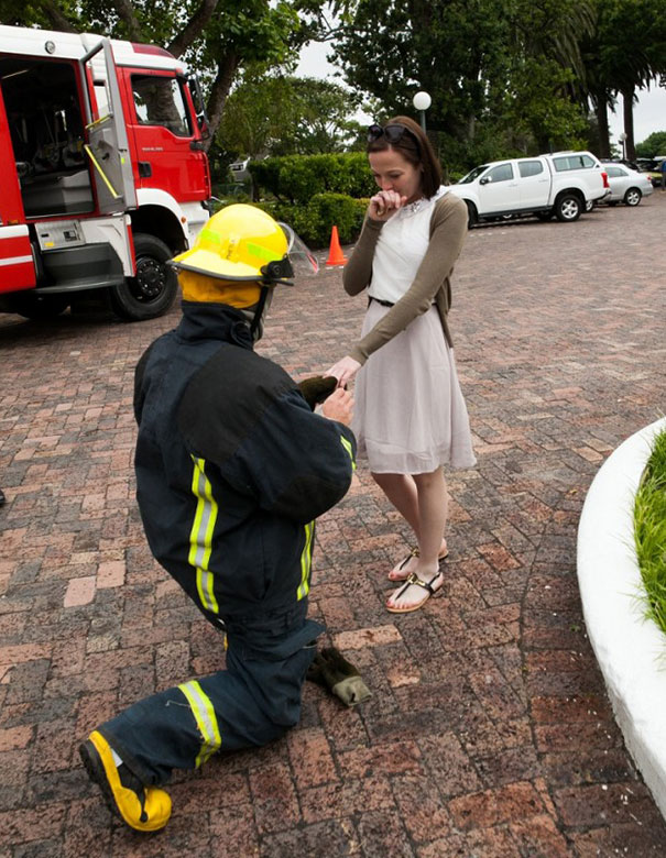 Firefighter Marriage Proposal Involving The Whole Fire Department