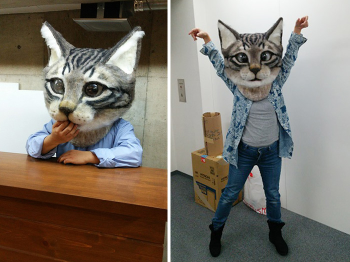 Giant Realistic Wool Cat Head Is Both Cute And Terrifying