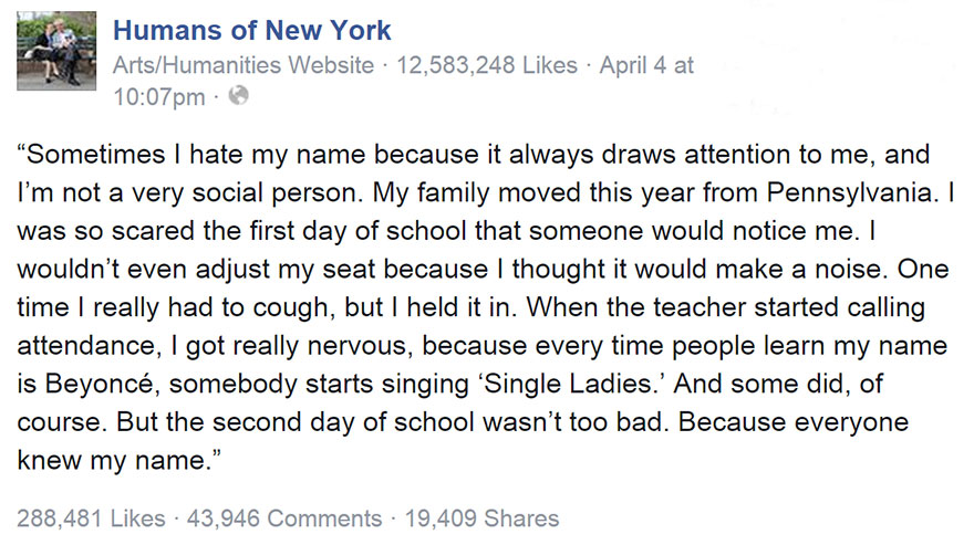 'Humans Of New York' Photo Of Girl Named 'Beyoncé' Has The Best Comment Section Ever