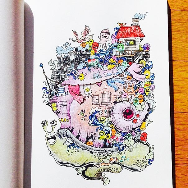 Coloring Book For Adults Titled \'Doodle Invasion\' by Kerby Rosanes ...