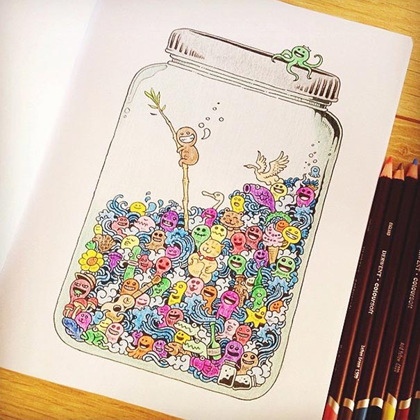 Coloring Book Adult Doodle Invasion Kerby Rosanes 11