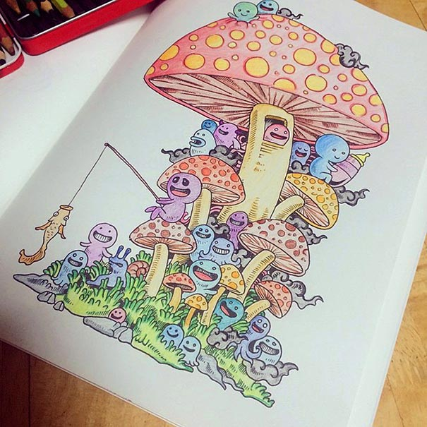 Coloring Book Adult Doodle Invasion Kerby Rosanes 13