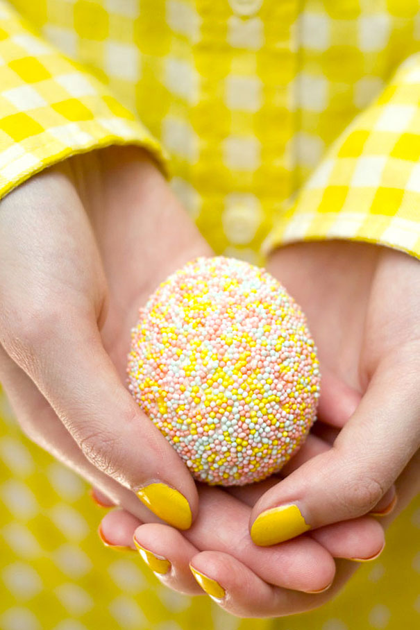 Cover Egg With Glue And Dip In Sprinkles