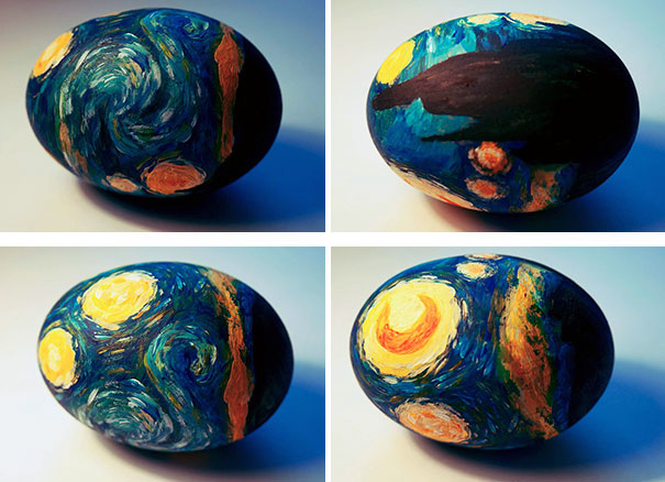 Starry Night Painted Eggs