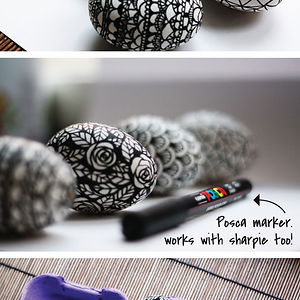 Black And White Doodled Easter Eggs