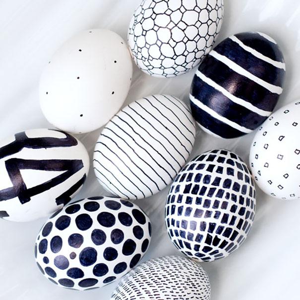 Minimalist Black & White Easter Eggs