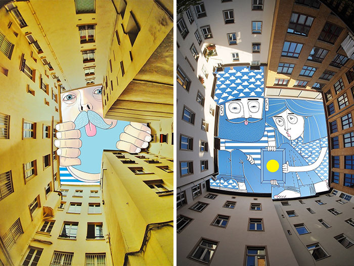 I Draw Illustrations On The Sky Between Buildings