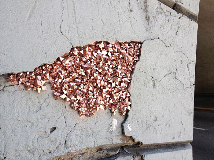 Artist Hides Crystallized Geode Installations Inside Wall Cracks To Bring Life To Urban Areas