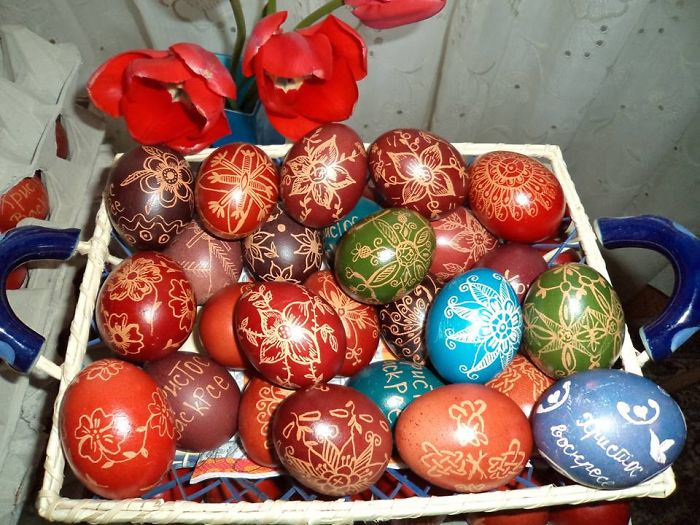 My Last Year's Beeswax Easter Eggs