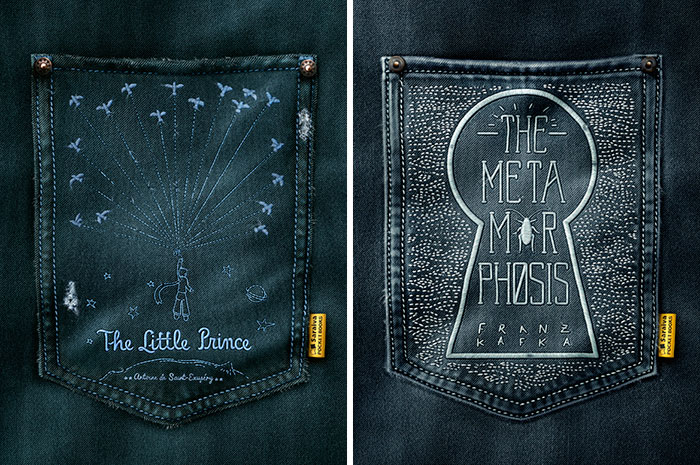 We Embroidered Covers Of Your Favorite Books On Jean Pockets