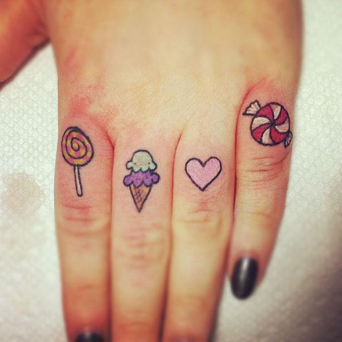 Sweet Finger Tattoos
