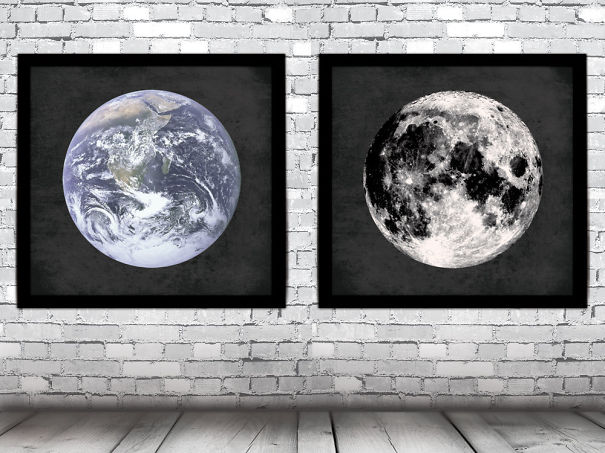 Earth And Moon Wall Prints