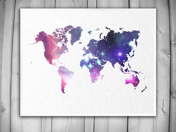Galaxy World Map Print