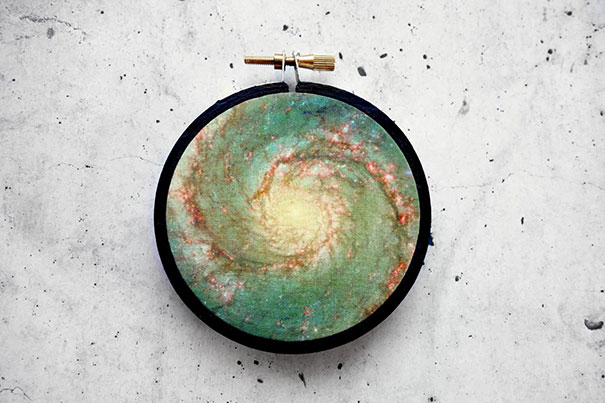 Space - Themed Prints In Embroidery Hoops
