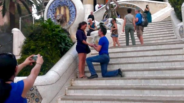Totally Surprised Her With A Knee-drop In Parc Guell, Barcelona, During A Holliday With Friends