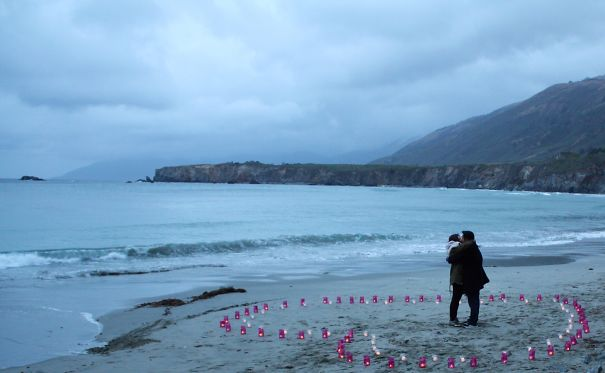 Double Layered Candle Heart Proposal On Empty Big Sur California Beach Yolo - You Only Love Once
