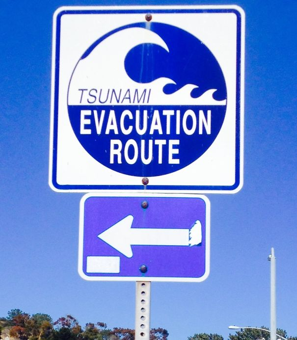 This Sign Was Pointing Toward The Beach.
