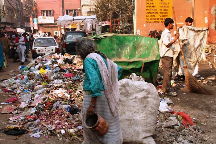 Open Dumping In The Streets Of New Delhi, India