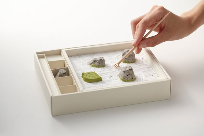 11 zen garden rock chocolate packaging lets you relax while raking the sand - Product Design Ideas